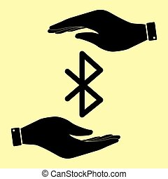 Save or protect symbol by hands. - Bluetooth sign. Save or...