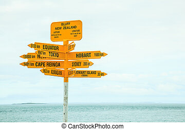 Bluff New Zealand yellow Signpost, with arrows pointing to different directions, major destinations, big cities such as Tokyo, Sydney, New York, Hobart, Kumagawa, Stewart Island, Cape Reinga, Equator