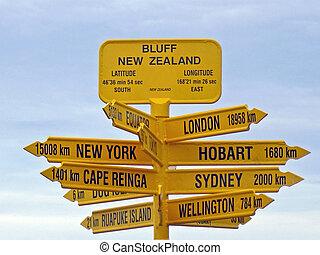 Bluff Signpost, New Zealand - The landmark Signpost at Bluff...
