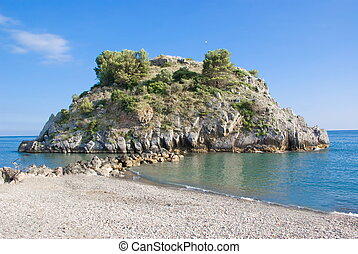 Bluff with selvatic vegetation in Mediterranean sea,...