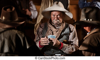 Bluffing Card Player - Bluffing card player in old American...