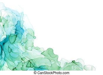 Bluish shades corner watercolor background, wet liquid