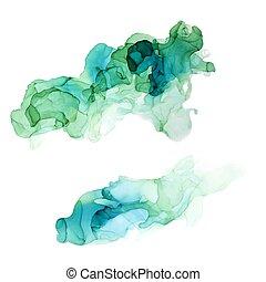 Bluish shades ink background, wet liquid, set