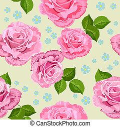 blume, beschaffenheit, mit, rosen, seamless