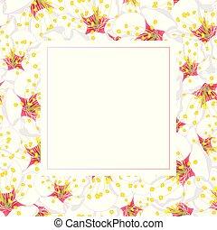 blume, blüte, pflaume, weißes, banner, karte
