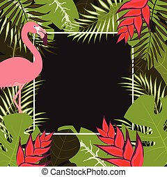 blume, flamingo, rahmen, 1