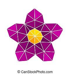 blume, lila, abstrakt, poly, form, design, niedrig