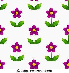 blume, lila, pattern., poly, niedrig, geometrisch