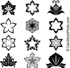 blume, set., vektor, schwarz, design, weißes, elemente