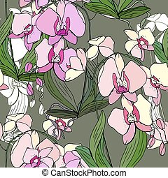 blumemuster, phalaenopsis., seamless, beschaffenheit,...