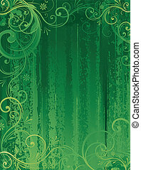 blumen-, abstrakt, grüner hintergrund