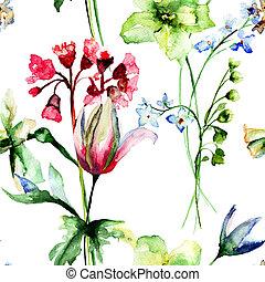 blumen-, aquarell, seamless, abbildung, muster