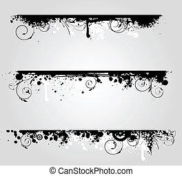 blumen-, banner, elemente, grunge, drei