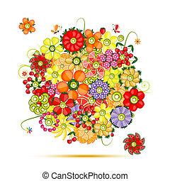 blumen-, bouquet., blumen, gemacht, von, früchte