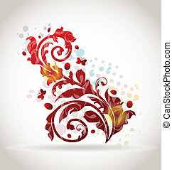 blumen-, dekorativ, elemente, design, bunte