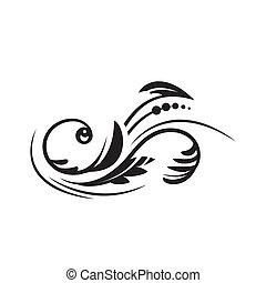 blumen-, dekoratives design, element