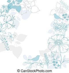 blumen-, elegant, vogel, hintergrund