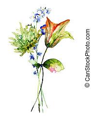 blumen, fruehjahr, aquarell, abbildung