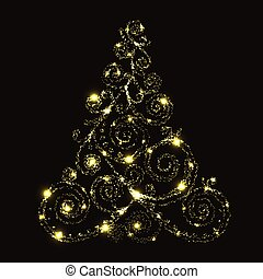 blumen-, glühen, vektor, baum, weihnachten