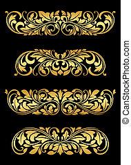 blumen-, goldenes, elemente, embellishments