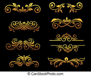blumen-, goldenes, ränder, elemente, weinlese