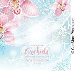 blumen, grüßen karte, orchideen