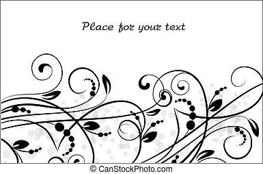 blumen-, hintergrund, mit, dekorativ, branch., vektor, illustration.