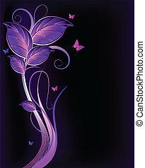blumen-, hintergrund., vektor, violett