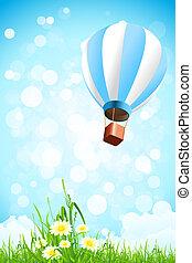 blumen, in, der, gras, und, heiãÿluftballon, in, der, himmelsgewölbe