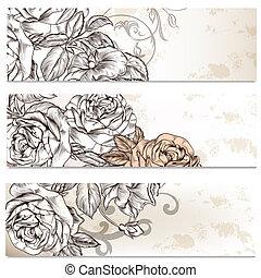 blumen-, karten, satz, rosen, blumen, geschaeftswelt, design