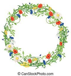 Blumen-Kranz.eps - floral wreath isolated on white