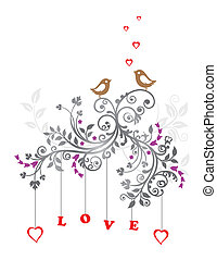 blumen-, liebe, verzierung, vögel