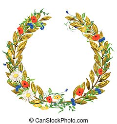 Blumen-Lorbeer.eps - laurel wreath isolated on white