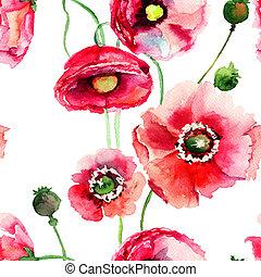 blumen, mohnblume, stilisiert, abbildung