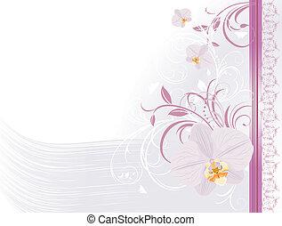 blumen-, ornament., karte, orchideen