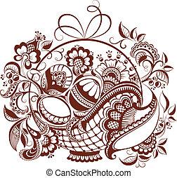 blumen-, ostern, henna, design