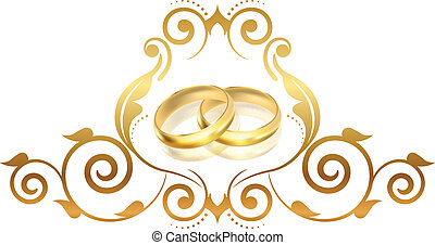 blumen-, rahmen, vektor, ringe, gold