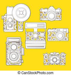 blumen-, satz, weinlese, pattern., cameras, foto