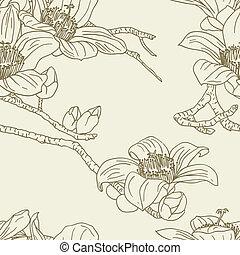 blumen, seamless, tapete, orchidee