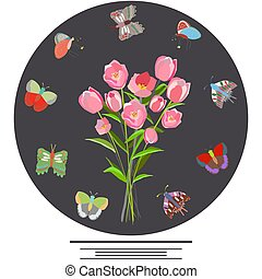 blumen-, tulpenblüte, rahmen, butterflies.