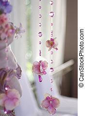 blumen, und, perlen, vorhang, dekorativ, für, wedding