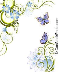 blumen, und, vlinders