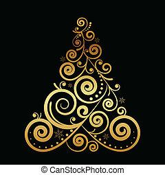 blumen-, vektor, baum, weihnachten