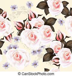 blumen-, vektor, seamless, muster, mit, rosen, blumen