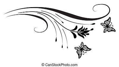 blumen-, verzierung, ecke, papillon, dekorativ