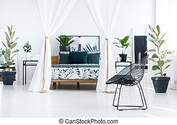 blumen-, weißes, vorhänge, schalfzimmer