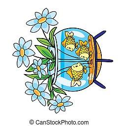 blumengebinde, aquarium, stellen, vektor, freigestellt, fische, hintergrund, gegenstand, blumen, karikatur, misused, ihm, weißes, abbildung