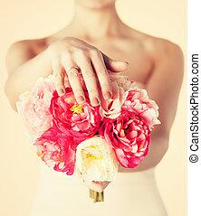 blumengebinde, braut, ring, blumen, wedding