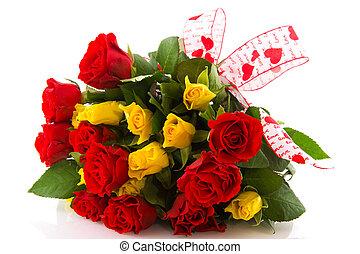 blumengebinde, rosen, rotes gelb