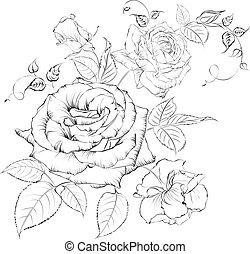 blumengebinde, roses.